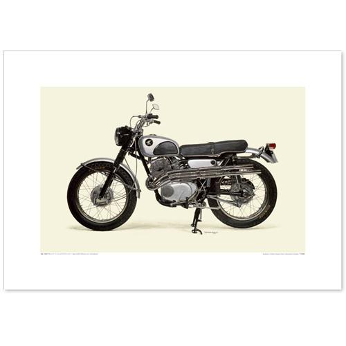 国産モーターサイクル図版(A2愛蔵版)1962 Honda Dream CL72 Scrambler