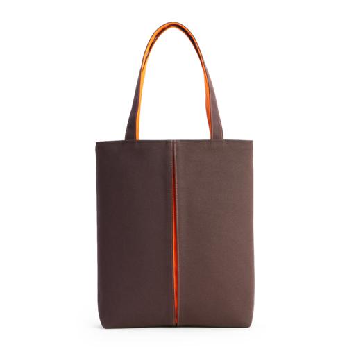 KOSHO Canvas pleats トートバッグM 焦茶色/橙色