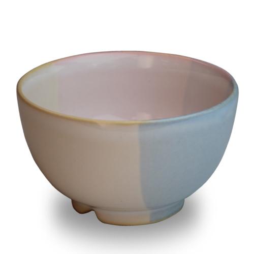 萩陶苑 椿秀窯 Shikisaiシリーズ まめ碗 ピンク×ブルー