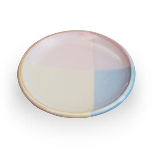 萩陶苑 椿秀窯 Shikisaiシリーズ 小皿 ピンク×ブルー