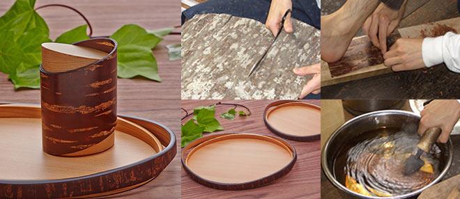 樺(桜皮)細工の茶筒・トレイ