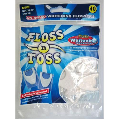 <東急ハンズ> 衛生的で持ち運びに便利な個別包装40個入。歯間の着色や汚れが気になる方にホワイトニング強化の使いすてフロス。 ステイノー フロスアンドトス画像