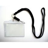 コスモ 携帯ストラップ名札付き 黒│名札・カードホルダー ネックストラップ・リールクリップ
