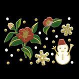 ほつま高蒔絵 風物詩 椿と雪だるま 風003
