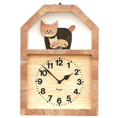 キコリ ネコの親子の時計 K910