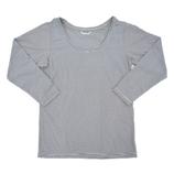hands+ tabigi トラベルTシャツ8分袖 レディースL ブラック×ホワイト