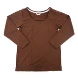 hands+ tabigi トラベルTシャツ8分袖 レディースL ブラック×ブラウン