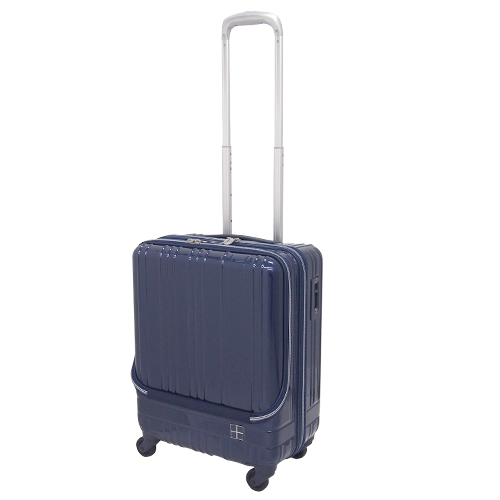 hands+ ライトスーツケース フロントオープンタイプ 38L ネイビー【メーカー直送品】お届けまで約1週間~10日間