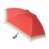hands+ 1級遮光 新簡単開閉折りたたみ傘 縄紐 50cm テラコッタオレンジラインボーダー