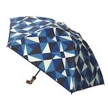 hands+ 1級遮光 新簡単開閉折りたたみ傘 合皮紐 (母の日パッケージ) 50cm 幾何カモブルー