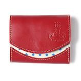 クアトロガッツ 小さいふ。 ペケーニョ 温泉×豊後絞り  赤/白│財布・名刺入れ 革財布