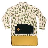 グローン(gron) 綿麻プリント クラフトマンシャツ 120103 ウッド サイズ3│アウトドアウェア