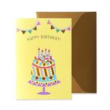 リュリュ イラストバースデーカード IBC-03 ガ-ランド&ケ-キ│カード・ポストカード バースデー・誕生日カード