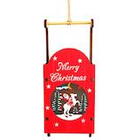 【クリスマス】 ジャパン・オール・クリエイティブ LEDウッドハンギング ソリ C-15197 レッド