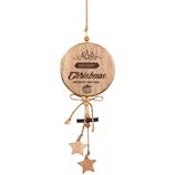 【クリスマス】 ジャパン・オール・クリエイティブ ウッドラウンドハンギング C-14698 ナチュラル/ゴールド