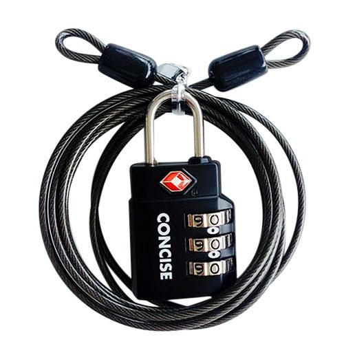 CONCICE ワイヤー付TSAロック TL−06TW ブラック