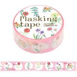包む マスキングテープ 花 ピンク サークルフラワー 15mm H-TM009│シール マスキングテープ