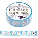 包む マスキングテープ 動物 ブルー サークルポーラーアニマル 15mm H-TM015│シール マスキングテープ