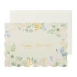 包む メッセージカード グリーン バースデー H-TC057 フラワーホワイト│カード・ポストカード バースデー・誕生日カード