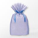 巾着バッグ マチ付 ブルー L