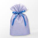 巾着バッグ マチ付 ブルー M