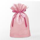 巾着バッグ マチ付 ピンク M