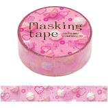 包む マスキングテープ ハート ピンク ピンククリーム 15mm H-M0224│シール マスキングテープ