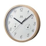 ブルーノ(BRUNO) ウッド温湿ウォールクロック BCW022 ナチュラルウッド│時計 壁掛け時計