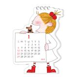 【2019年版・卓上】グリーティングライフ ココちゃん ダイカットカレンダー C1077RY 日曜始まり