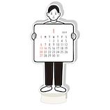 【2019年版・卓上】グリーティングライフ Noritake ダイカットカレンダー ボーイ C1086NT 日曜始まり