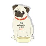 【2019年版・卓上】グリーティングライフ アニマルダイカットカレンダー パグ C1094ET 日曜始まり