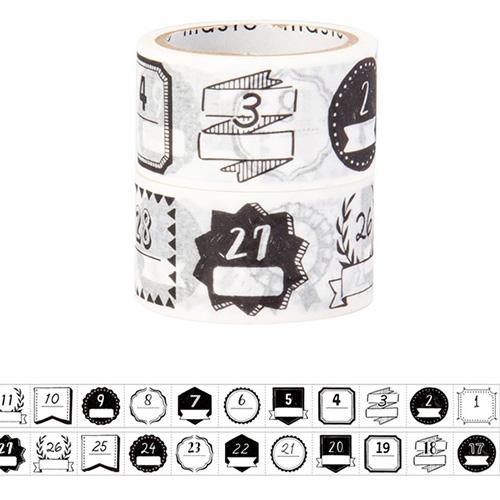 マークス(MARKS) 水性ペンで書けるマスキングテープ ミシン目入り 手帳デコ2巻セット MST-FA09-F 日付柄/モノクロ