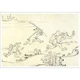 ピンナップ ポストカード 鳥獣戯画 猿を兎と蛙が追う NP749