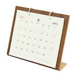 【2021年版4月はじまり】オーブ シンプルウッドカレンダーS WDS−750 ブラウン│カレンダー 卓上カレンダー