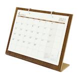 【2021年版4月はじまり】オーブ シンプルウッドカレンダーS WDS−900 ブラウン│カレンダー 卓上カレンダー