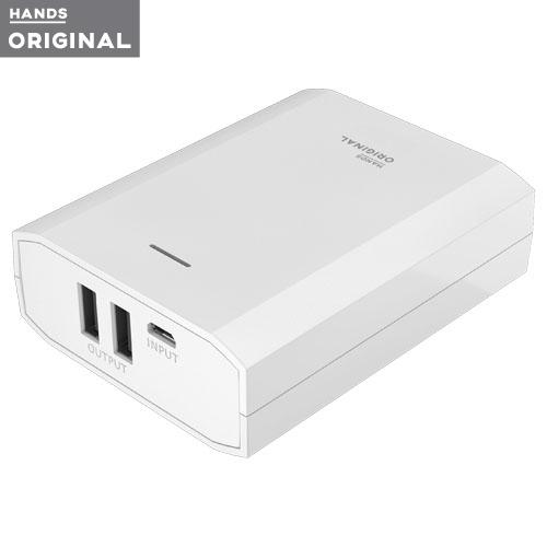 東急ハンズオリジナル モバイルバッテリー 10400mAh 2ポート2.4A ホワイト│携帯・スマホアクセサリー