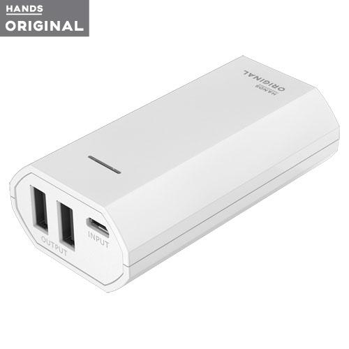 東急ハンズオリジナル モバイルバッテリー 5200mAh 2ポート2.4A ホワイト│携帯・スマホアクセサリー