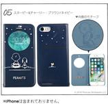 【iPhone7】 PEANUTS フリップ窓付きダイアリーケース スヌーピー&チャーリー・ブラウン/ネイビー