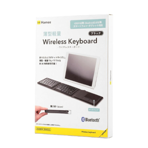 Hamee Bluetooth3.0 薄型軽量 ワイヤレスキーボード ブラック