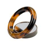 Hamee プラスチック スマートフォンリング ミラー付き ブラウン│収納・クローゼット用品 携帯・スマホスタンド