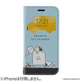 【iPhone12mini】 Hamee フリップ窓付きダイアリーケース PEANUTS 集合/バス停│携帯・スマホケース iPhoneケース