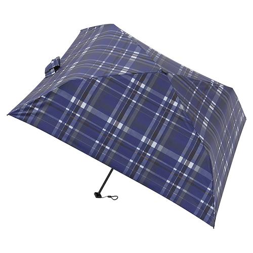 マス(masu) 折りたたみ傘 メンズ 晴雨兼用 パラソル4本骨 チェック ネイビーブルー