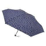 urawaza(ウラワザ) 3秒でたためる 折りたたみ傘 5段ミニ 晴雨兼用 ドット ディープブルー│レインウェア・雨具 折り畳み傘