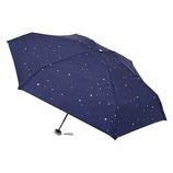 urawaza(ウラワザ) 3秒でたためる 折りたたみ傘 5段ミニ 晴雨兼用 星柄 ネイビーブルー│レインウェア・雨具 折り畳み傘