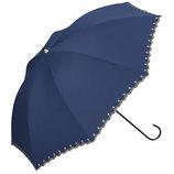 w.p.c 晴雨兼用日傘 長傘 遮光星柄スカラップ 81−9729 ネイビー│レインウェア・雨具 日傘
