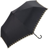 w.p.c 晴雨兼用日傘 折りたたみ傘 遮光星柄スカラップmini 801−972 ブラック