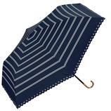 w.p.c 晴雨兼用 折りたたみ日傘 遮光ボーダーミニ 801−306 ネイビー