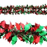 【クリスマス】 エクセルポイント リーフティンセルガーランド 6952 グリーン レッド