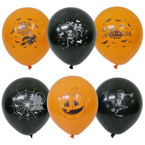 ハロウィンバルーン 25cm 6個入 ブラック×オレンジ