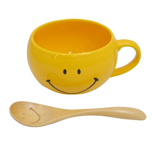 スマイリーフェイス(Smiley Face) スプーン付スープマグ イエロー